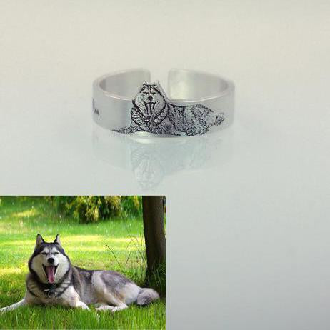 Personalized Photo Engraved Ring 925 Silver