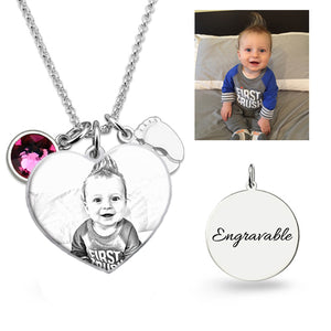 Birthstone Photo Heart Necklace Sterling Silver with Baby Feet