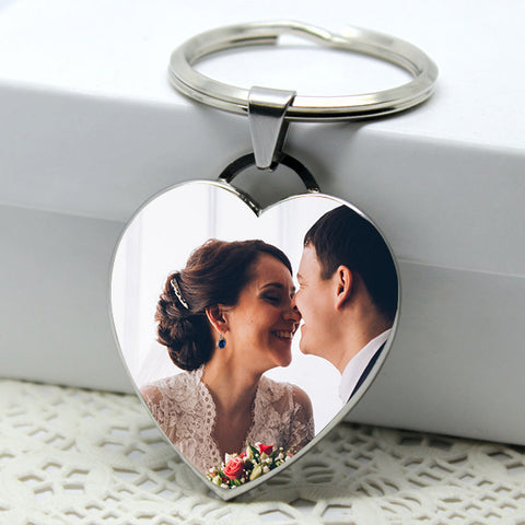 Personalized Photo Heart Keychain