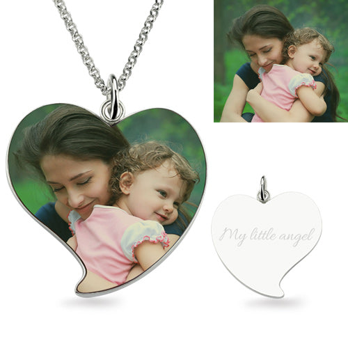 Full Color - Photo Necklace Sterling Silver Heart Shape