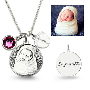 Birthstone Photo Necklace Sterling Silver with Baby Feet