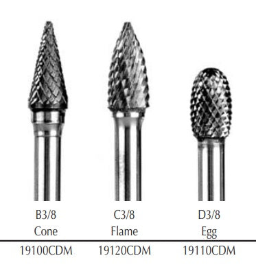 "3/8"" Flame (C3/8) Diamond Cut Coarse Carbide Bur w/ 1/4"" Shank 19120CDM"