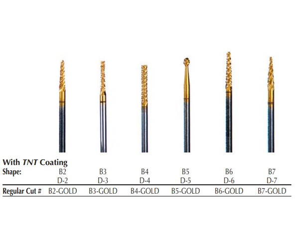 B7, (D-7) TNT-Coated Diamond Cut Regular HP Carbide Bur B7-GOLD