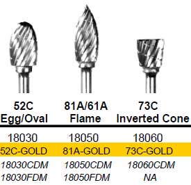 Egg/Oval (52C) TNT-Coated Dual Cut Coarse HP Carbide Bur C-52C-GOLD
