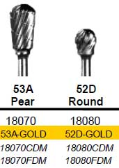 Pear (53A) TNT-Coated Dual Cut Coarse HP Carbide Bur C-53A-GOLD