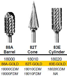 Barrel (88A) TNT-Coated Dual Cut Regular HP Carbide Bur 88A-GOLD