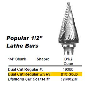 "1/2"" Cone (B1/2) Diamond Cut Coarse Carbide Bur w/ 1/4"" Shank 19300CDM"