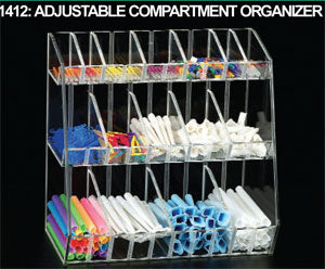 Acrylic Top Display Case /& 1 8 Compartmented Red  Insert Organizer 1