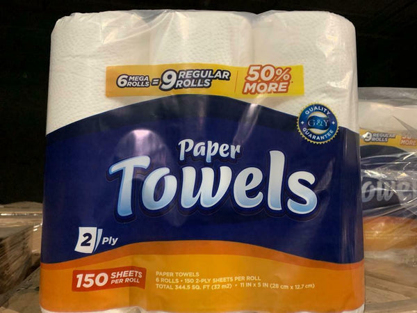 G&Y Paper Towel 6 Mega Rolls 150 2-Ply Sheets Per Roll Same Day Shipping