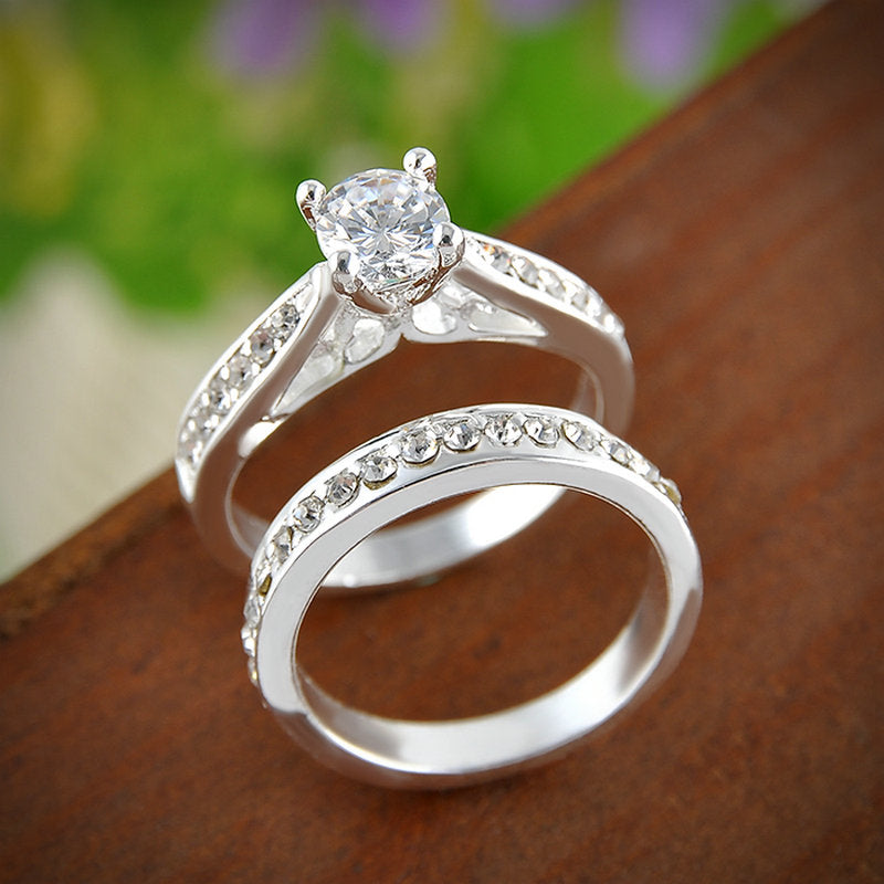 Silver Crystal Engagement Ring and Wedding Band DealMaxnet