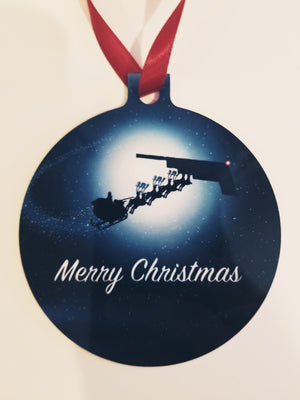 B-2 Santa & Sleigh Christmas Ornament