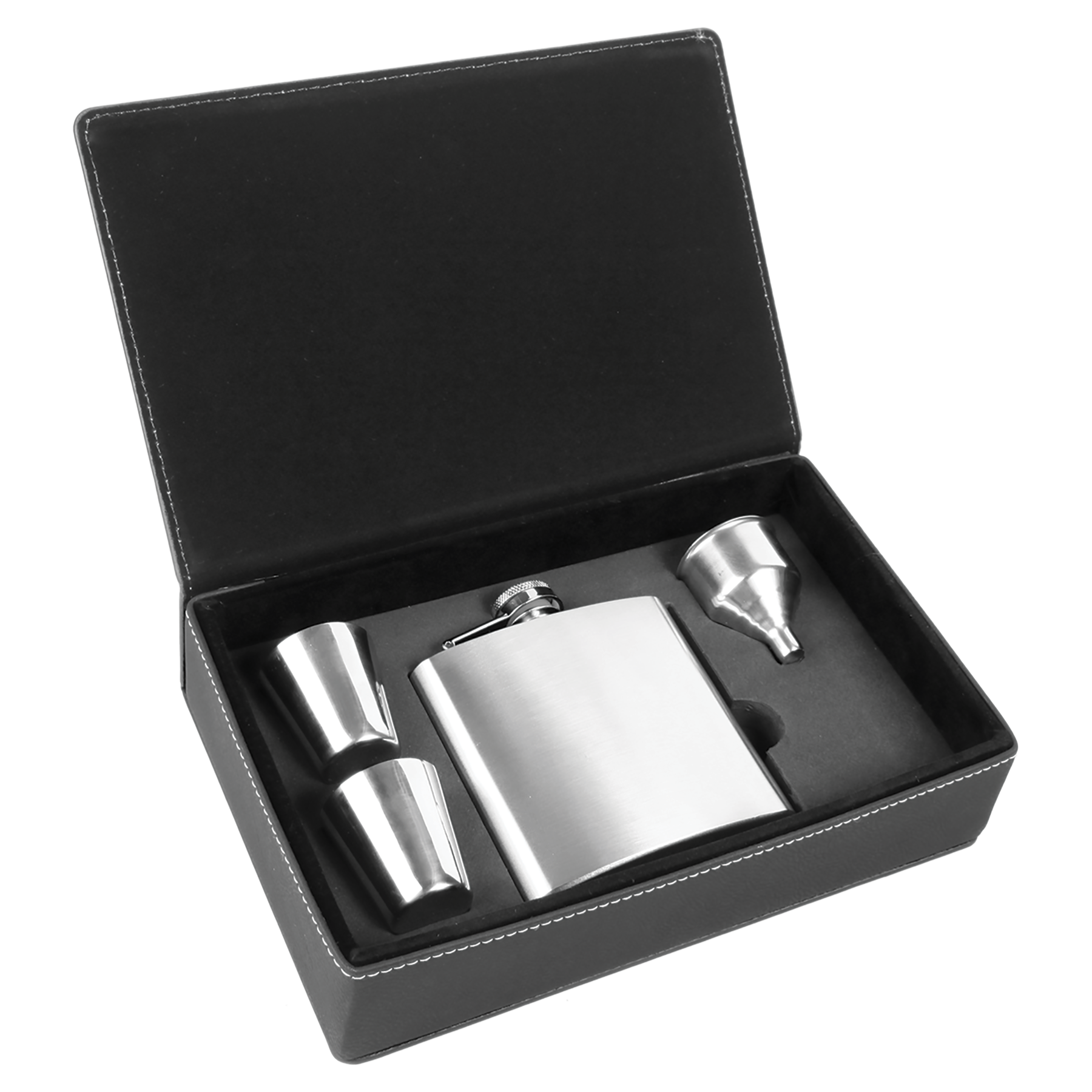 Customizable 6 oz. Flask Set in Laserable Leatherette Box