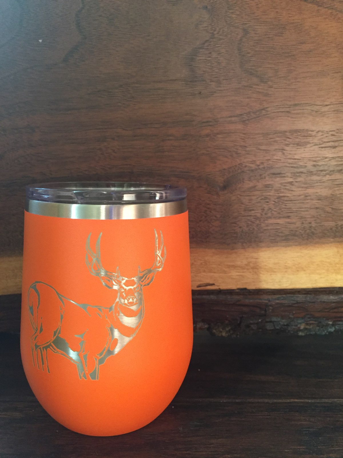 Hunting Season Laser Engraved Stemless Powdercoated Wineglass