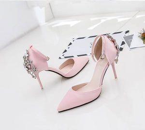 Ankle Buckle Stiletto High Heel Rhinestone Diamante Sandals For Womens Petite Feet Size 33
