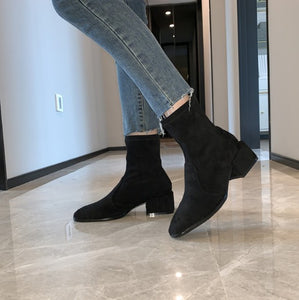 Black Round Toe Short Boots BS396