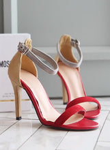 Fashion Design Red Strappy High Heel Party Dress Sandals for Women's small feet1