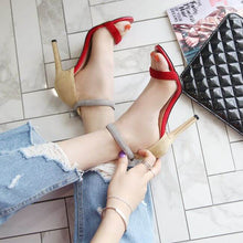 Fashion Design Red Strappy High Heel Party Dress Sandals for Women's small feet