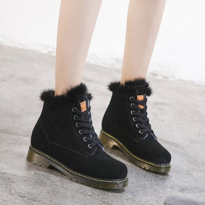 Leather Fur Boots For Small Feet AP108