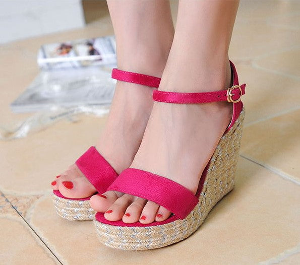 004f40378a0 Little Feet Small Size One Strap Peep Toe Wedge Sandals AS293