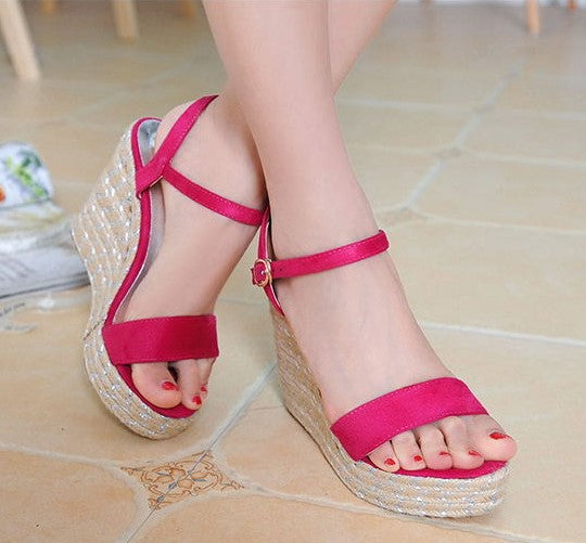 ce7e15db115 Little Feet Small Size One Strap Peep Toe Wedge Sandals AS293 - AstarShoes