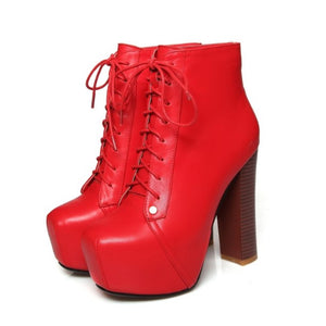Little Women's Chunky High Heel Platform Sexy Lace Up Boots Size 2 3 4