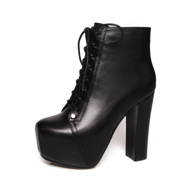 Little Women's Chunky High Heel Platform Sexy Lace Up Boots Size 34