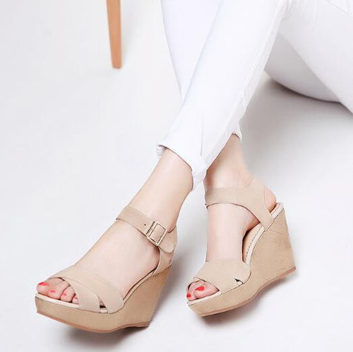 Peep Wedge Sandals For Small Feet BS108
