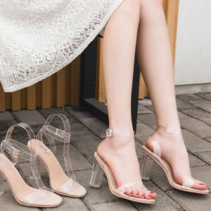 Petite Ankle Strap Clear Heel Sandals BS134
