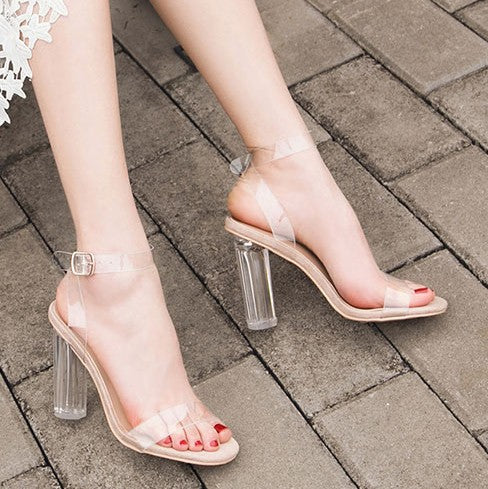 Ankle Strap Clear Heel Sandals US3(eu33) For Sale