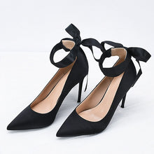 Petite Black Silk Satin Heels With Bow Tie DS120