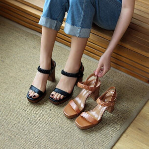 Petite Chunky High Heel Leather Sandals BS208