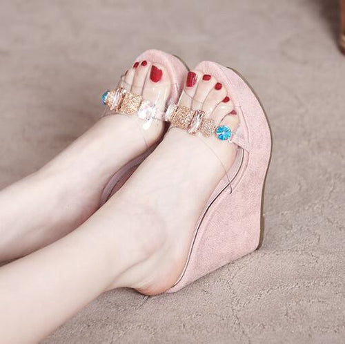 Petite Clear Strap Rhinestone Wedge Sandals BS116