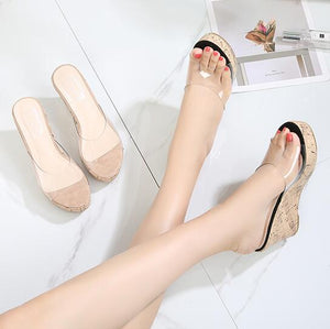 Clear Strap Wedge Sandals US4(eu34) For Sale
