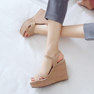 Petite Cross Strap Summer Wedge Heels DS229