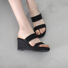 Petite Open Toe Slip On Wedge Sandals DS206