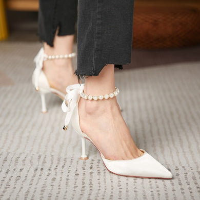 Petite Pearl Ankle Strap Heeled Women Shoes DS167