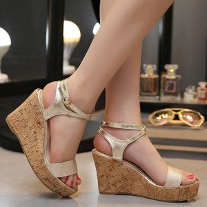 Petite Open Toe Ankle Strap Wedge Sandals BS226