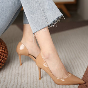 Petite Side Empty Patent Heels For Women DS172