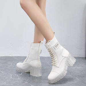 Petite Size Clear Heel Short Boots DS66
