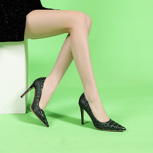 Petite Size Pointed Toe Leather Heels DS153