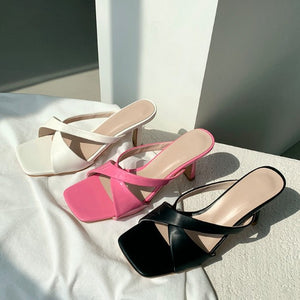 Petite Size Strap Leather Sandals For Women DS87