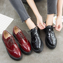 Petite Size Thicksole Patent Casual Shoes DS136
