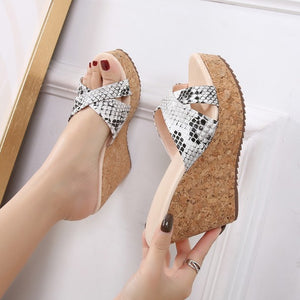 Petite Snake Printed Cross Strap Wedge Sandals DS210
