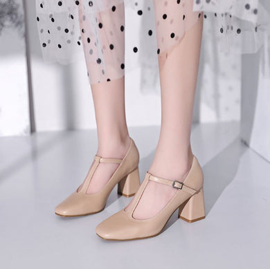 Petite Small T-Strap Block Heel Pump Shoes DS176
