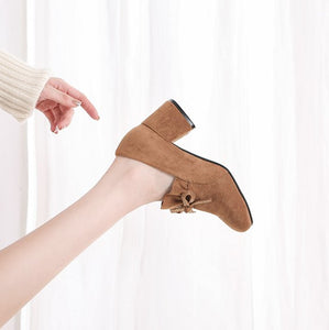 Petite Size Block Mid Heeled Leather Shoes SS395