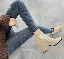 Petite Chunky Block Heel Beige Booties For Small Feet Ladies