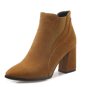 Petite Chunky Block Heel Booties For Small Feet Ladies In Brown