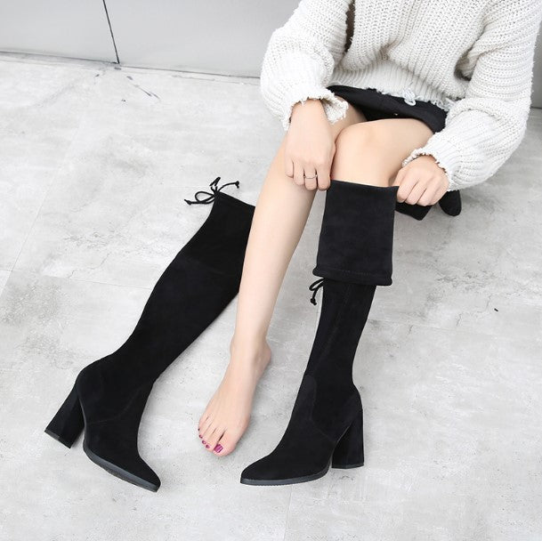 Petite Elastic Knee High Boots For Wide Calf AP110
