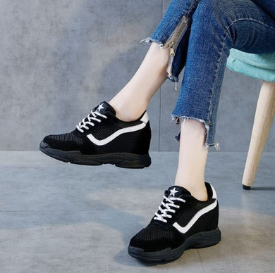 Petite Fashion Inner Heel Leather Sneakers AP107