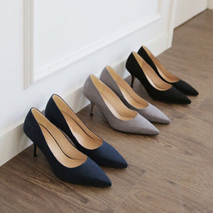 US3(eu33) Navy Pointed Suede Pumps Sale